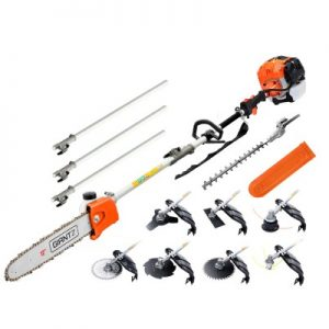 9-in-1 Pro-series chainsaw with 7 gardening attachments 65cc 2-stroke engine E-start recoil pull system